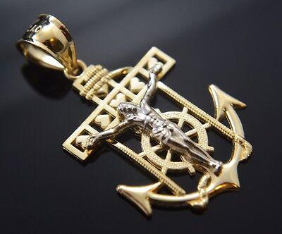 Jesus Ancla Medalla Oro Real 14k Gold Anchor Pendant Religious Cham Crucifix New 14k Anchor Pendant