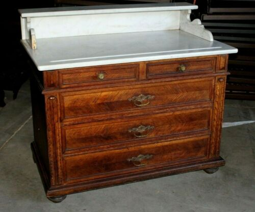 Antique Marble Top Washstand - Tiger Oak Base with Three Drawers