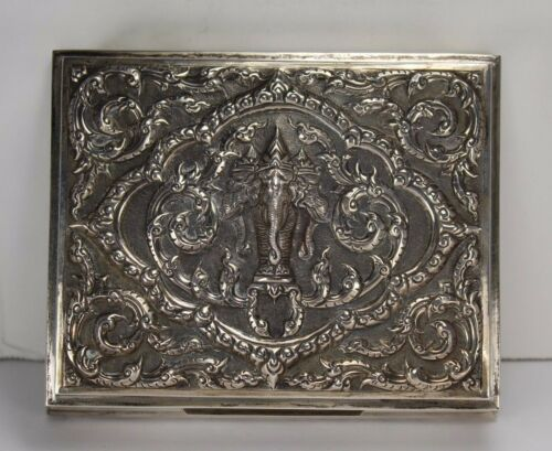 Antique Sterling Silver Oriental Elephant Design Box Made in Siam 295 grams