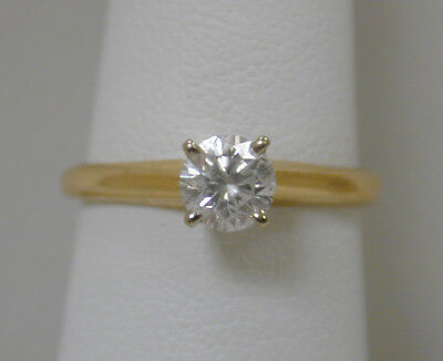14K YELLOW GOLD .38CT ROUND DIAMOND SOLITAIRE ENGAGEMENT RING~SI2/I~ESTATE~ZEN