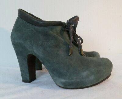 Chie Mihara Suede Heels Shoes sz 38 Anthropologie Booties gray/teal