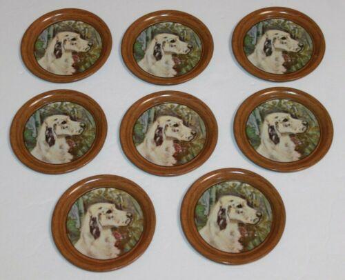 Vintage Set 8 Tin Litho Ole Larsen Hunting Dog Drink Coasters English Setters