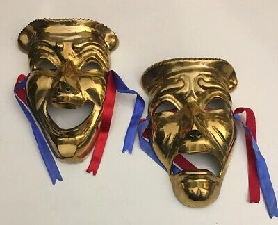 Huge Genuine Solid Brass Comedy and Tragedy Mardi Gras Wall Mask Decor 7 X - Comedy And Tragedy