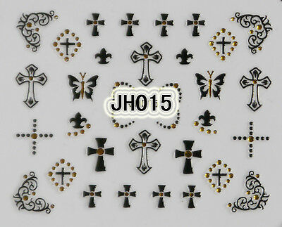 Halloween Black Crosses Gold Rhinestons 3D Nail Arts Stickers Decals Decorations](Halloween Nail Arts)