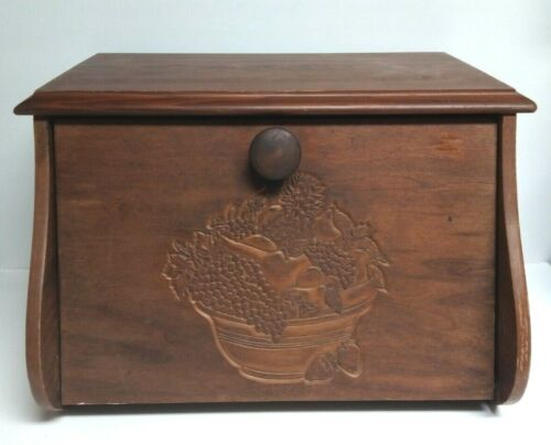 VINTAGE WOOD BREAD BOX COUNTRY FARM HOUSE KITCHEN HAND CARVED FRUIT BOWL