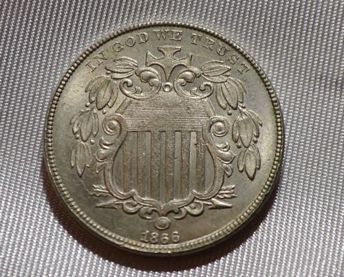 1866 Shield Nickel, With Rays Sharp Uncirculated Better Date Free Ship DIE BREAK