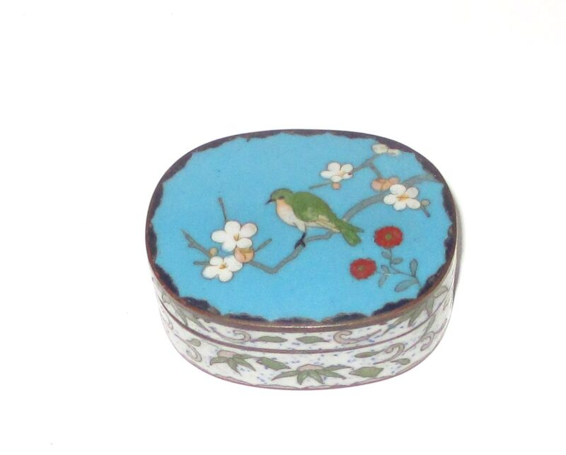 JAPANESE CLOISONNE BLUE ENAMEL CHERRY BLOSSOMS TREE WITH BIRD TRINKET JAR BOX