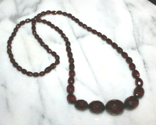 Vintage Art Deco Faceted Cherry Amber Bakelite Bead Necklace 26""