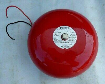 Vintage Potter Red 6 Fire Alarm Bell Untested