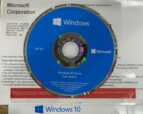Original OEM Windows 10 HOME 64 Bits Media Full Install DVD Disc Only No License