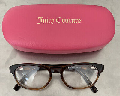 Juicy Couture JU101 Brown Designer Horned Full Rim RX Eyeglass Frames 135 Juicy Couture Brown Eyeglasses