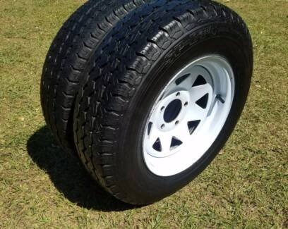 "FORD 5 STUD 14"" TRAILER WHEELS AND TYRES 90% TREAD 5X114.3 MM PCD"