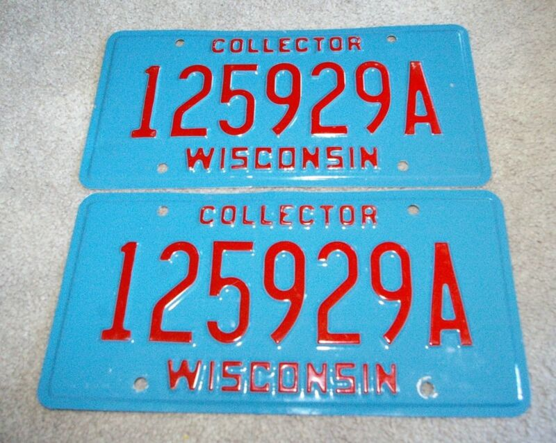 Vintage Aluminum Wisconsin License Plates Pair Collector 125929A
