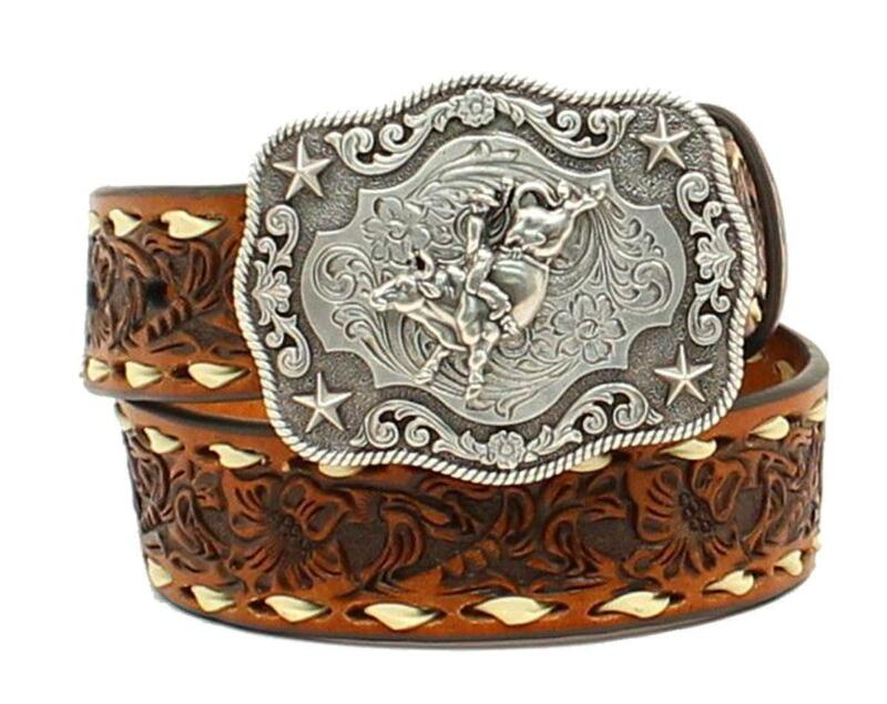 Nocona Western Boys Belt Kids Leather Embossed Floral Laced Tan N4436208