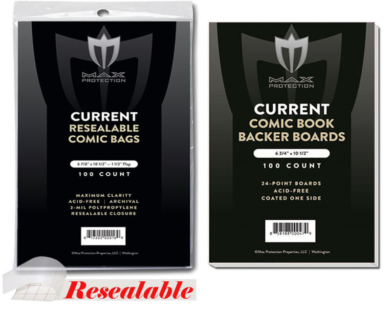200 Max Pro RESEALABLE Current / Modern Comic Book Poly Bags + Backer Boards