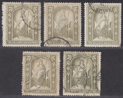 Malta 1899-1919 QV-KGV Figure 2sh6d Selection Used SG34 SG87