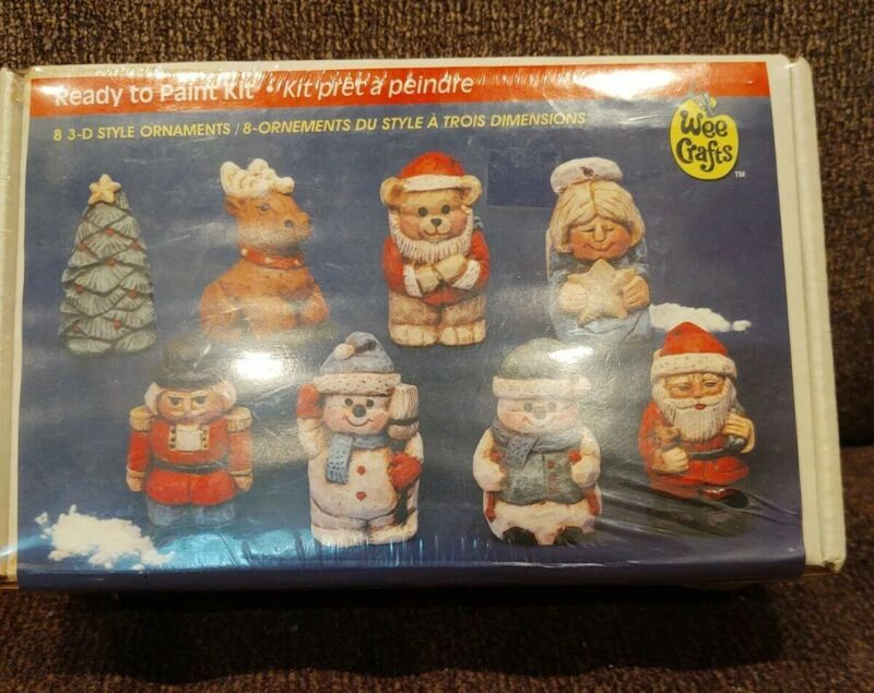 Wee Crafts Christmas Ornaments 3D Style (8) Ready to Paint Kit Sealed. HTF. Rare