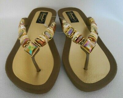GRANDCO SANDALS Beach Pool THONG BLING TAUPE Frosted & JEWELED DRESSY Flip Flops - Dressy Flip Flops