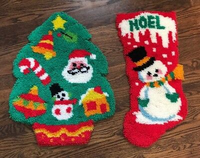 Vintage Latch Hook Christmas Tree Stocking  WALL HANGING Rug COMPLETE Finished
