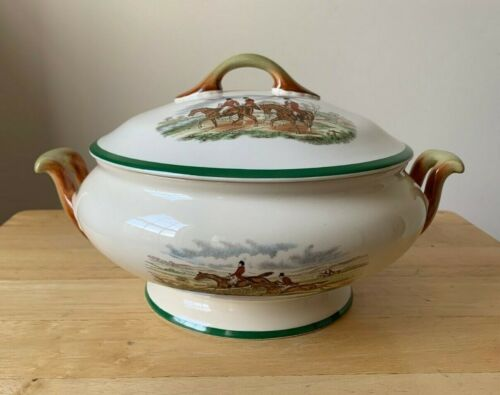 SPODE HERRING HUNT GREEN Round Covered Vegetable - First Over, The Meet - EUC