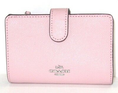 Coach Blush Pink Cross Grain Leather Medium Corner Zip Wallet F11484 NWT $165