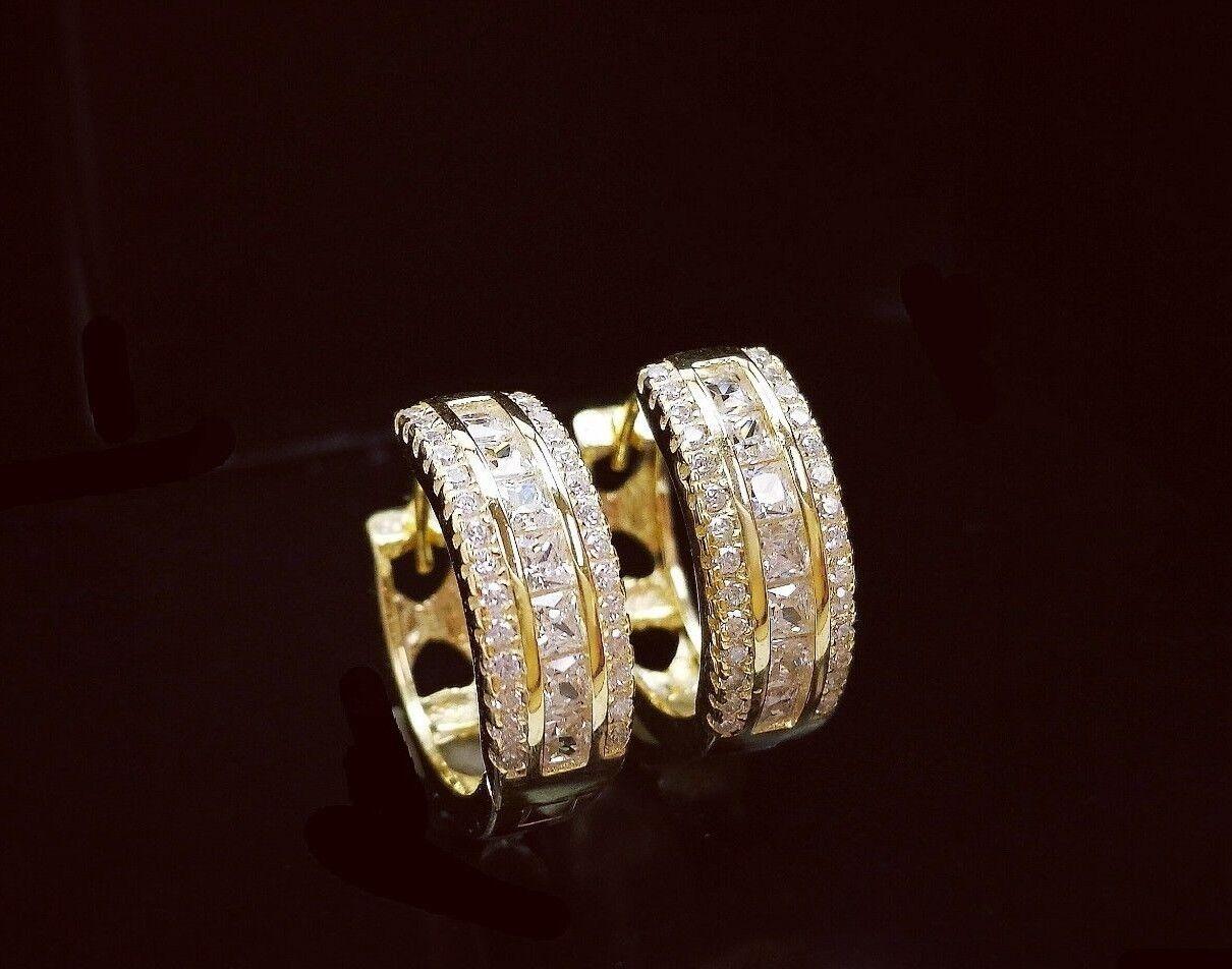 1 Ct Diamond Hoop Earrings Women Hoop Earrings 14K White Yellow Gold over 1