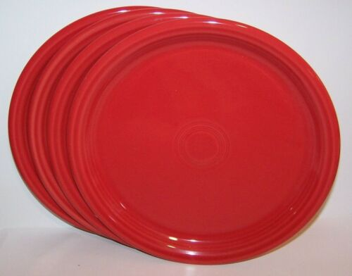 "NEW SET OF 4 FIESTAWARE SCARLET RED BISTRO 10.5"" DINNER PLATES FIESTA"