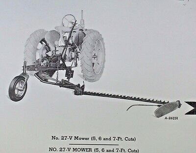 Ih Mccormick Farmall No 27-v Universal Mount Rear Sickle Bar Mower Parts Catalog