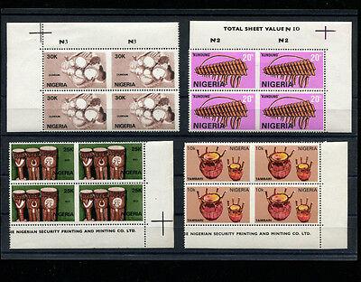 Nigeria 1989 Music Musical Instruments Scott 545-48 IMPERF BETWEEN ERROR
