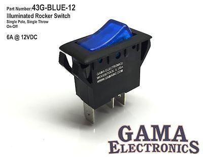 Blue Illuminated Single Pole Off-on Rocker Switch 12vdc - 43g-blue-12