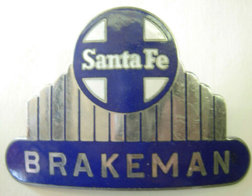 "40s 50s Santa Fe Railroad ""BRAKEMEN"" Enameled Hat Badge - SB"