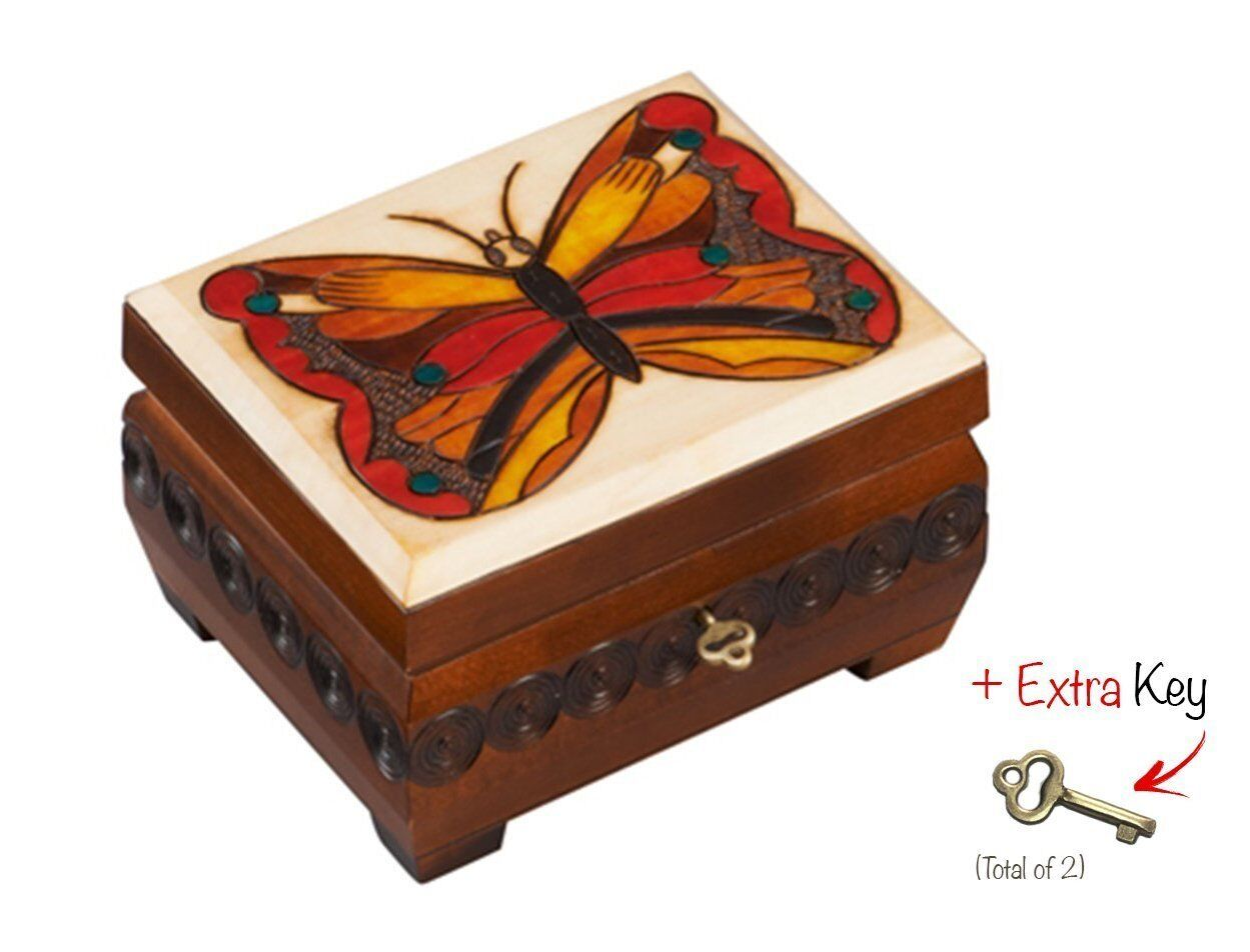 Cornell Butterfly Box Chest Polish Handmade Linden Wood Keepsake Jewelry Box, Lock & Key