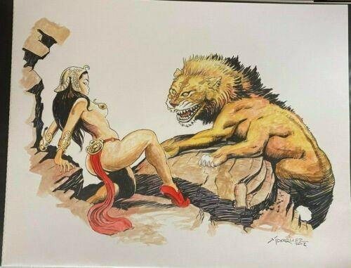 SEXY DEJAH THORIS IN DISTRESS DAVID MARQUEZ SIGNED ORIGINAL ART 11 x 17 #oa-1183