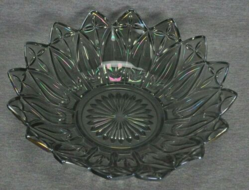 Smoke Gray Carnival Glass Bowl