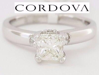 1.04 ct Cordova 14K White Gold Radiant Cut Diamond Solitaire Engagement Ring GIA