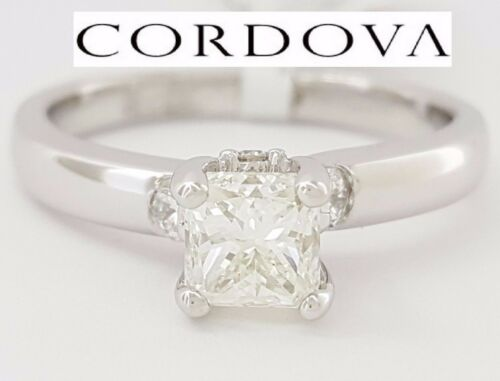 1.04 Ct Cordova 14k White Gold Radiant Cut Diamond Solitaire Engagement Ring Gia
