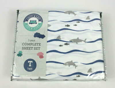 - Lucy & Leo Shark Fish 3 pc Twin Sheet Set New Kids Boys Blue Grey