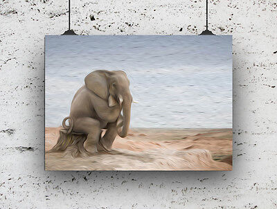 ANIMAL PRINT ELEPHANT OIL PAINTING EFFECT PRINT WALL ART FOR THE HOME A4
