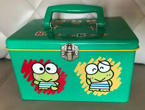 VINTAGE 1994 SANRIO KEROKERO KEROPPI GREEN METAL TIN LUNCH BOX HELLO KITTY RARE