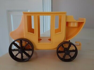 Vintage Fisher Price little people yellow stagecoach Western town 934