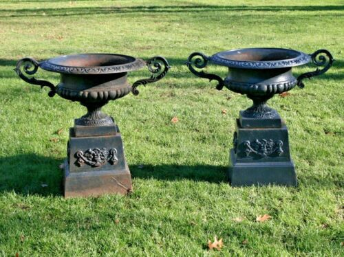 Antique Pair French Cast Iron Urns Planters w/ Plinth Stand Risers Handles Set 2