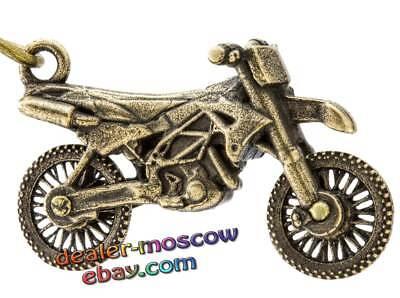 Bronze Solid Brass Keychain Sports Motocross Motorcycle MX Bike IronWork