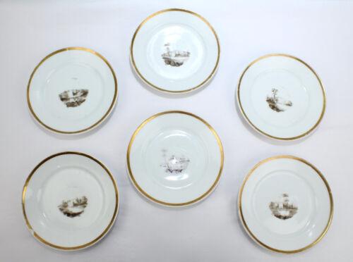 Set of 6 Antique Tucker & Hemphill Porcelain en Grisaille Plates - Phila PC