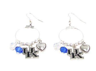 - Kentucky Wildcats Blue Clear Austrian Crystal Heart Logo Hoop Earrings UK