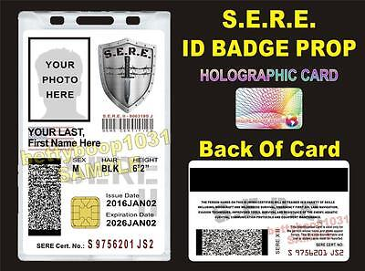 SERE ID Badge/ Card  >CUSTOM W/ Your Photo & Info<  - US MILITARY STYLE CAC CARD