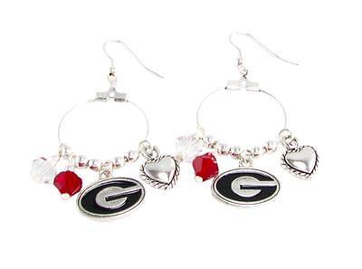 Georgia Bulldogs Hoop - Georgia Bulldogs Red Black Austrian Crystal Heart Logo Charm Hoop Earrings UGA