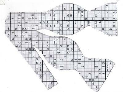 Sudoku Game Bow Tie / Black & White / Puzzle Game / Math Game / Self-tie Bow