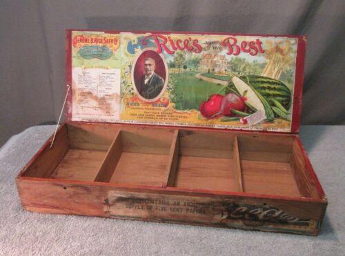 Antique Seed Box - Jerome B. Rice (vintage large wood display flower)