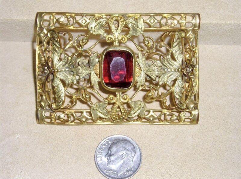 Antique Art Nouveau Deco Filigree Butterflies Red Czech Glass Pin Brooch