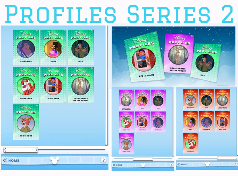 PROFILES SERIES 2-GREEN/PURPLE/RED 21 CARD SET-TOPPS DISNEY COLLECT DIGITAL